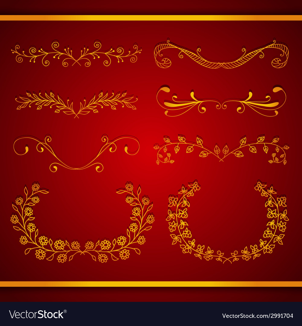 Set of elegant calligraphic foliate golden borders vector | Price: 1 Credit (USD $1)