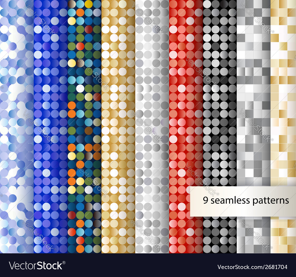 Set of seamless sequin backgrounds vector | Price: 1 Credit (USD $1)