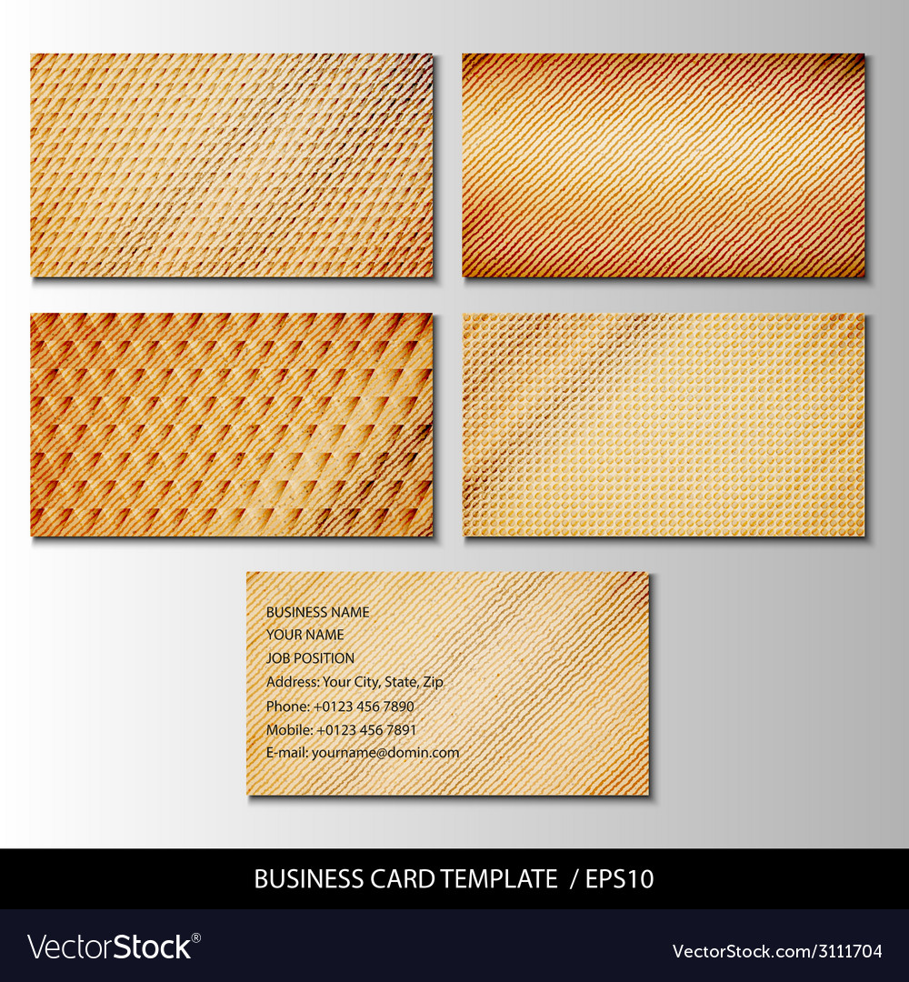 Set of wooden themed business card templates vector | Price: 1 Credit (USD $1)