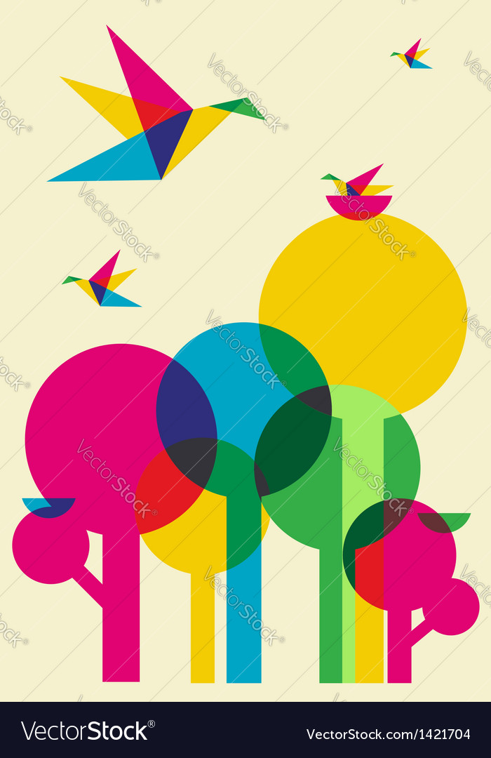 Spring time humming birds and trees vector | Price: 1 Credit (USD $1)