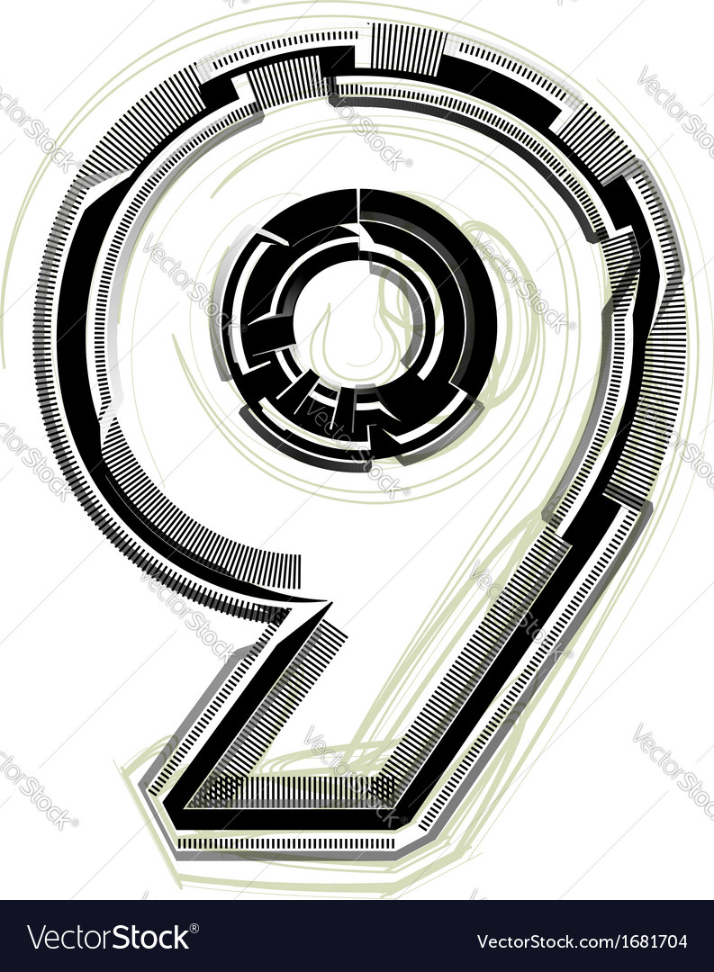 Technological font number 9 vector | Price: 1 Credit (USD $1)