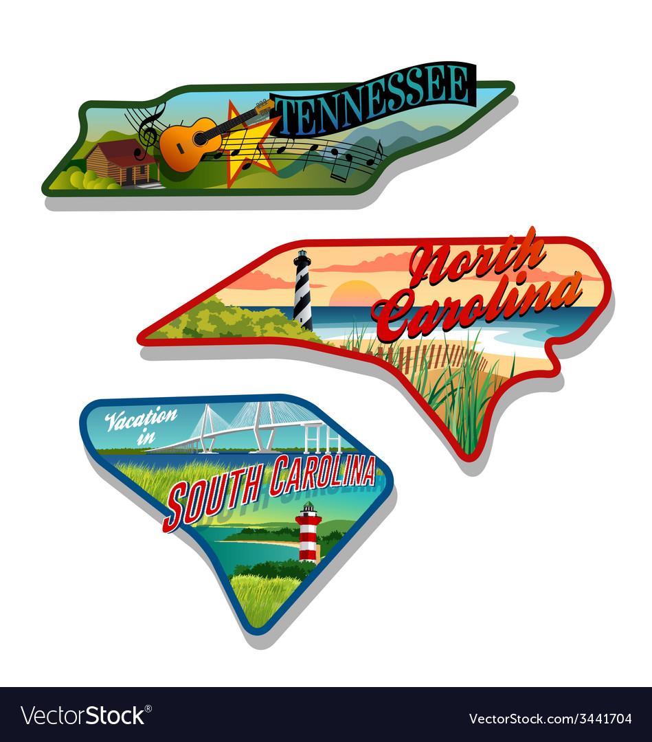 Tennessee north carolina south carolina designs vector | Price: 3 Credit (USD $3)