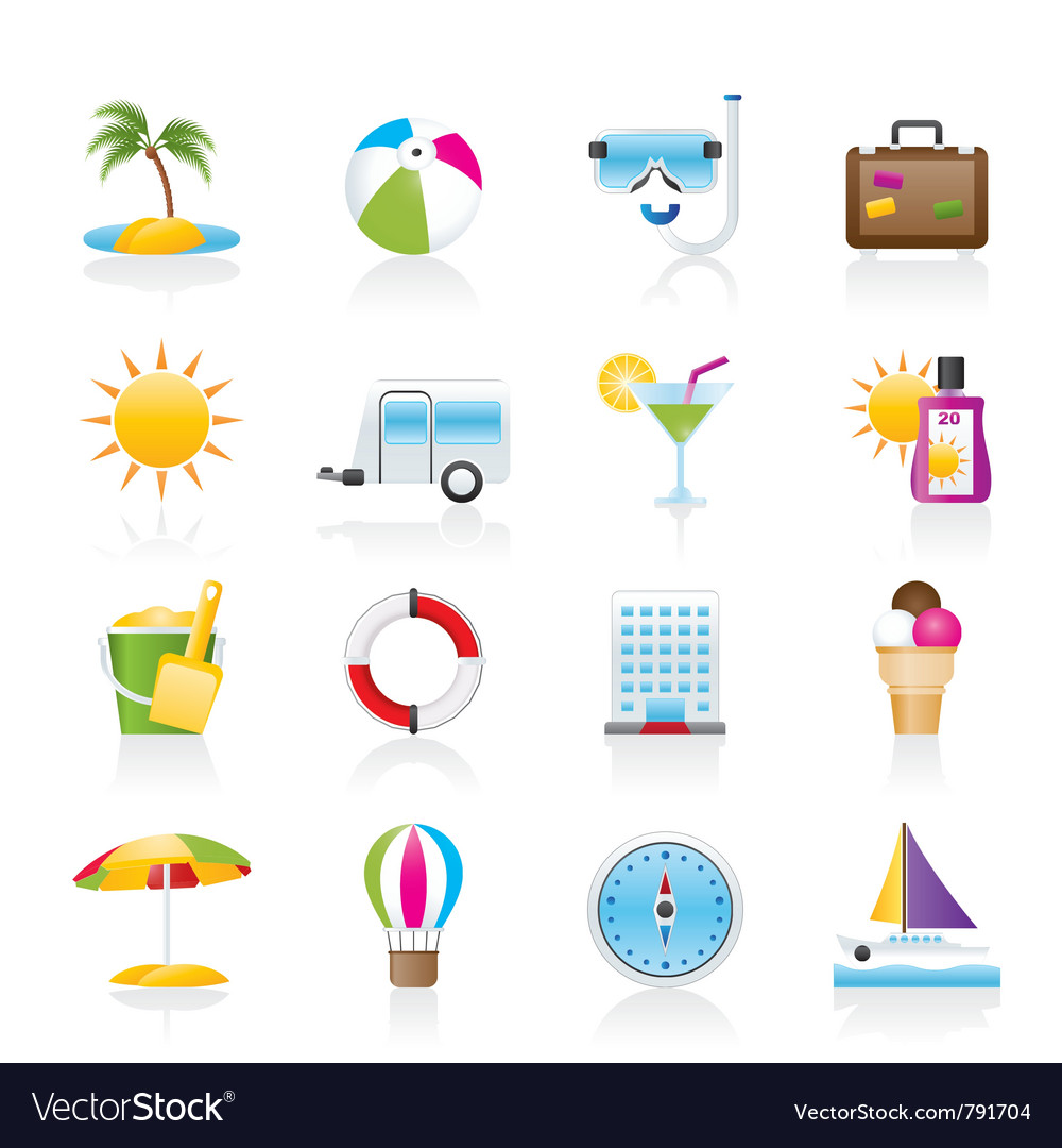 Vacation and holiday icons vector | Price: 3 Credit (USD $3)