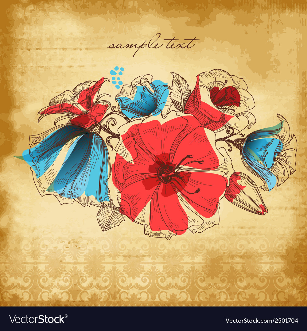 Vintage background flower decoration vector | Price: 1 Credit (USD $1)