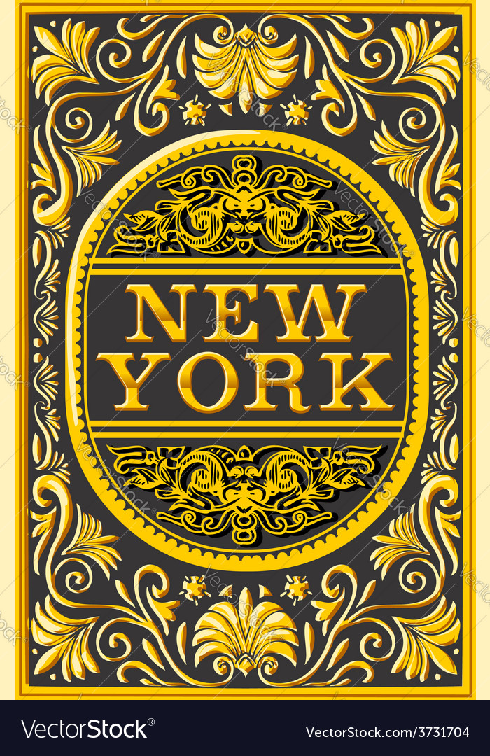 Vintage new york label plaque black and gold vector | Price: 3 Credit (USD $3)