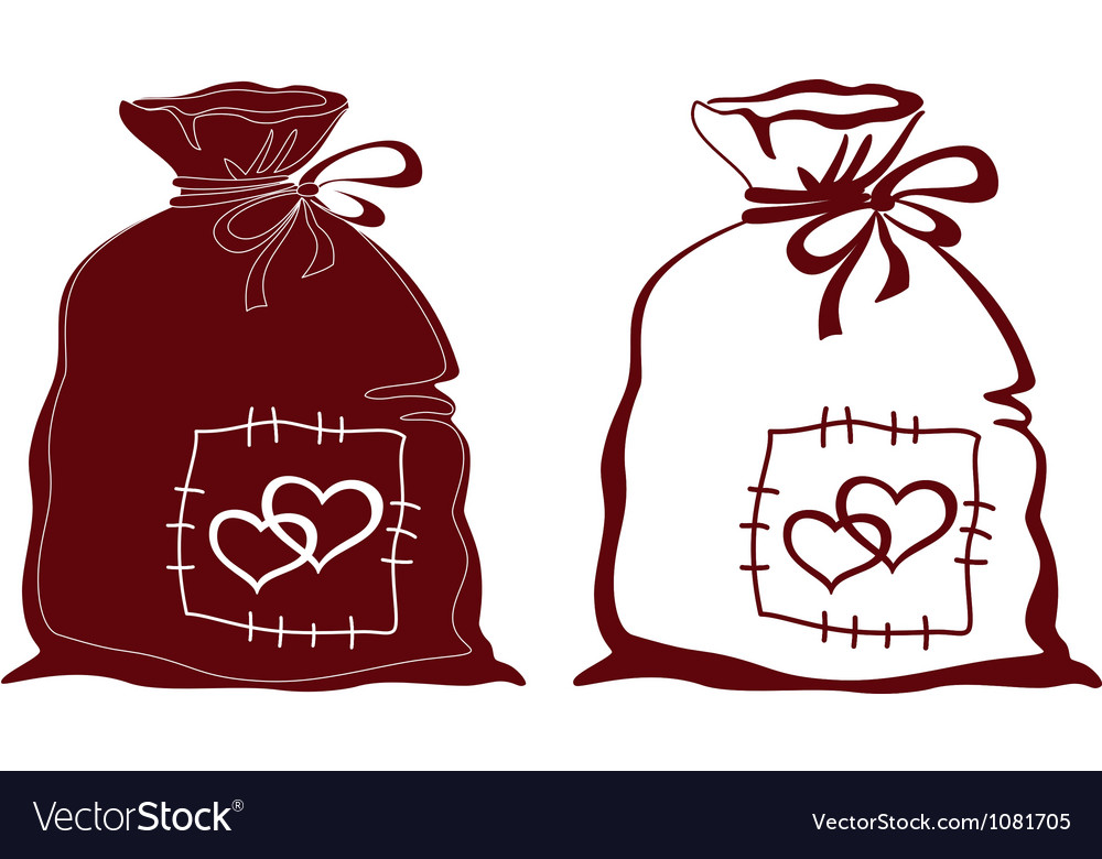 Bag with hearts silhouette set vector | Price: 1 Credit (USD $1)