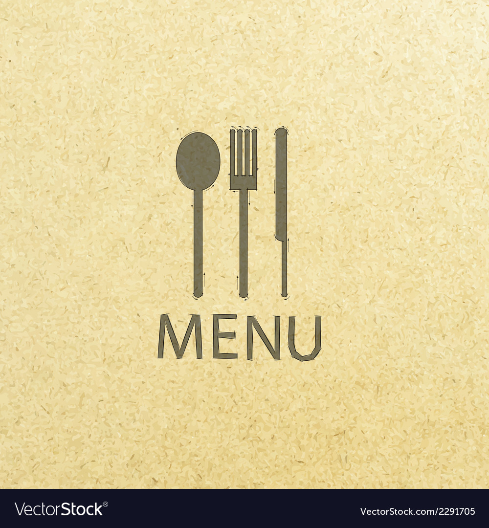 Fork and knife recycled paper stick on pattern old vector | Price: 1 Credit (USD $1)