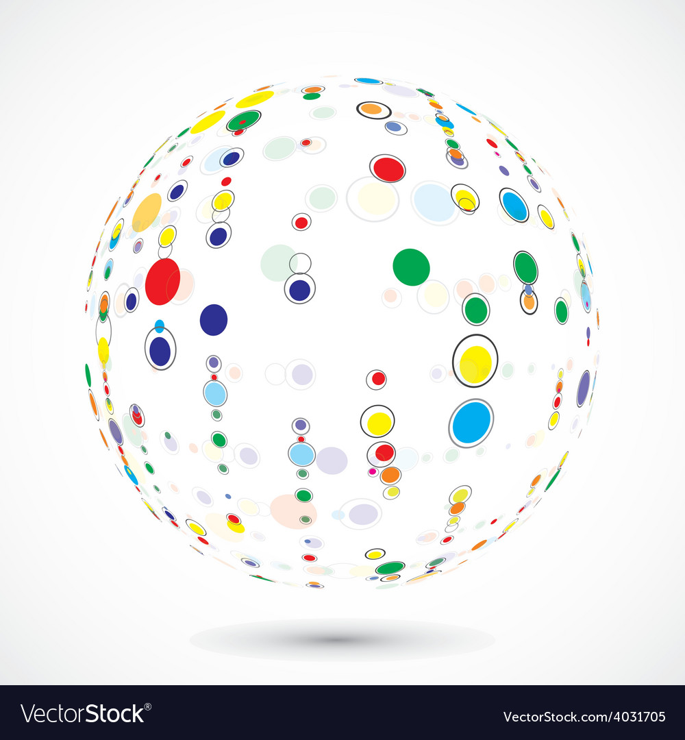 Globe consist of color circles vector | Price: 1 Credit (USD $1)