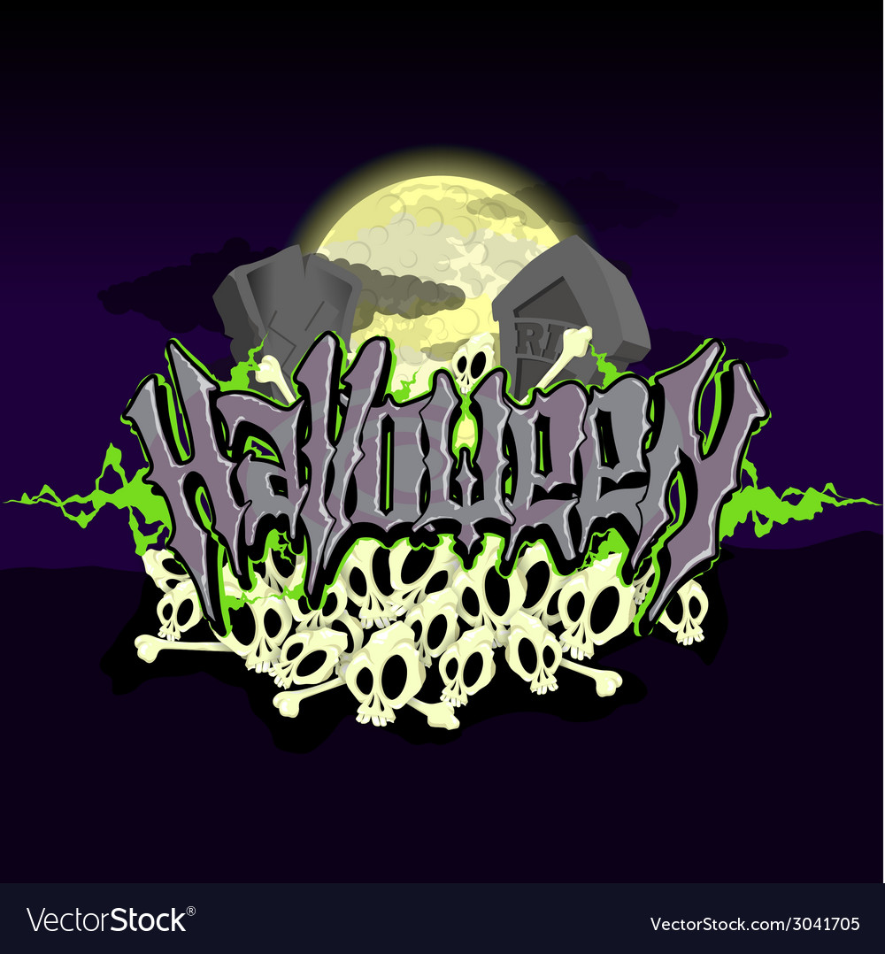 Halloween text with graves and skulls in moonlight vector | Price: 1 Credit (USD $1)