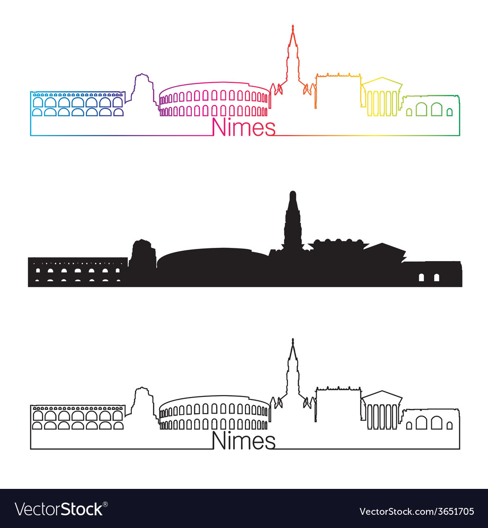 Nimes skyline linear style with rainbow vector
