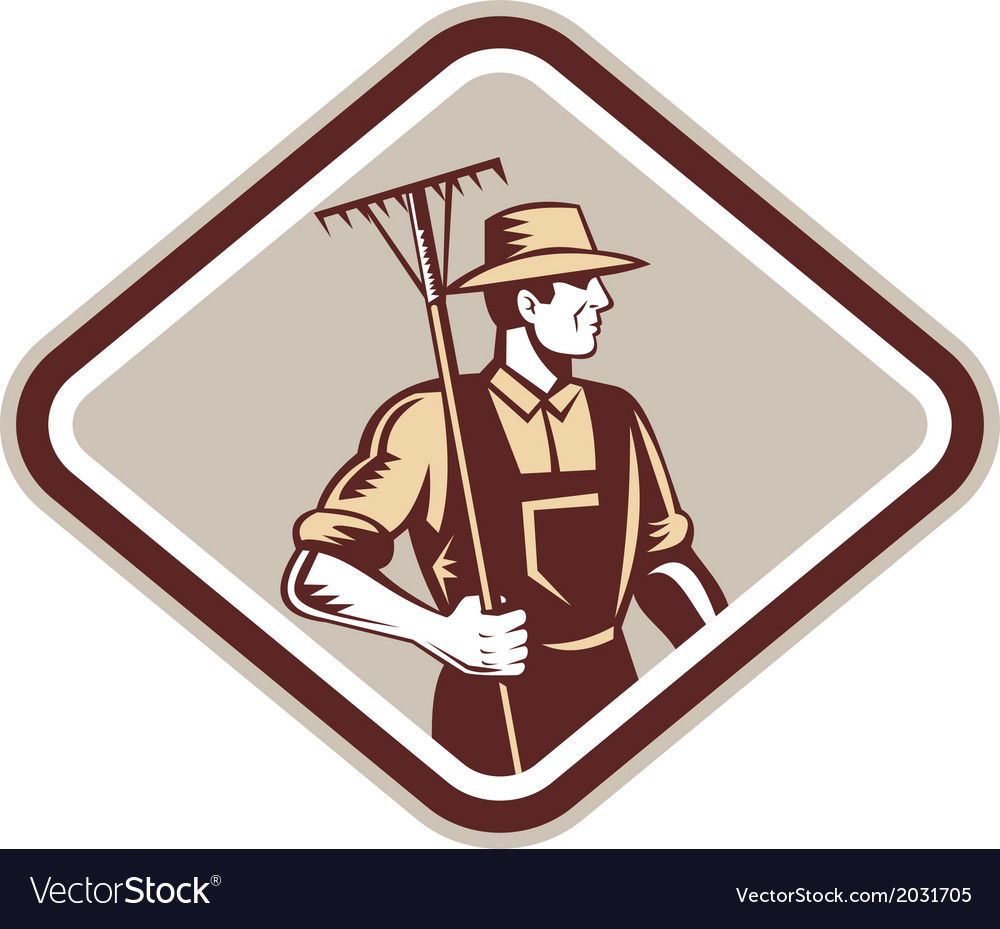 Organic farmer holding rake side woodcut vector | Price: 1 Credit (USD $1)