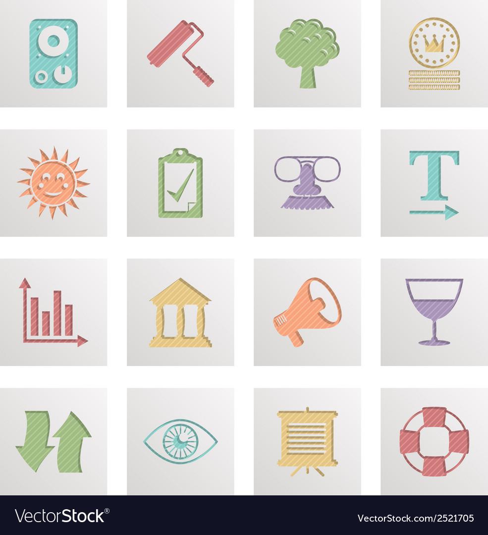 Square media icons vector | Price: 1 Credit (USD $1)
