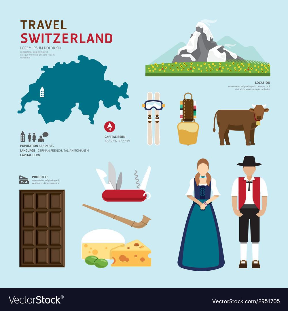 Travel concept switzerland landmark flat icons vector | Price: 1 Credit (USD $1)
