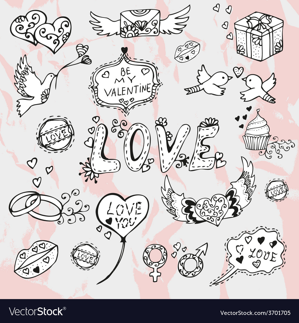 Valentines day doodles vector | Price: 1 Credit (USD $1)