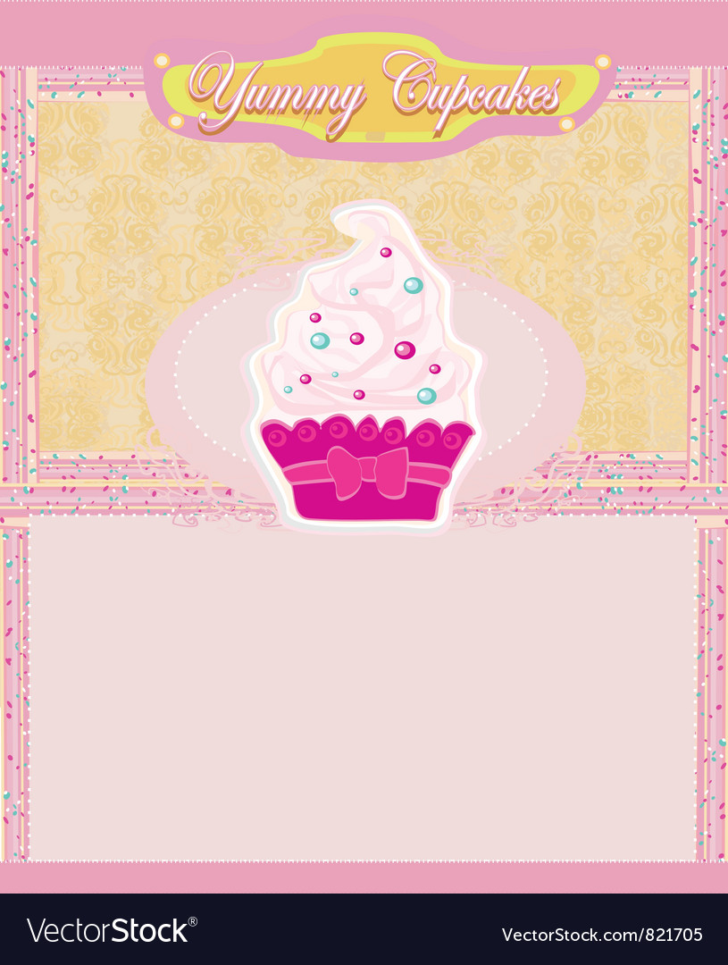 Vintage card with cupcake vector | Price: 1 Credit (USD $1)
