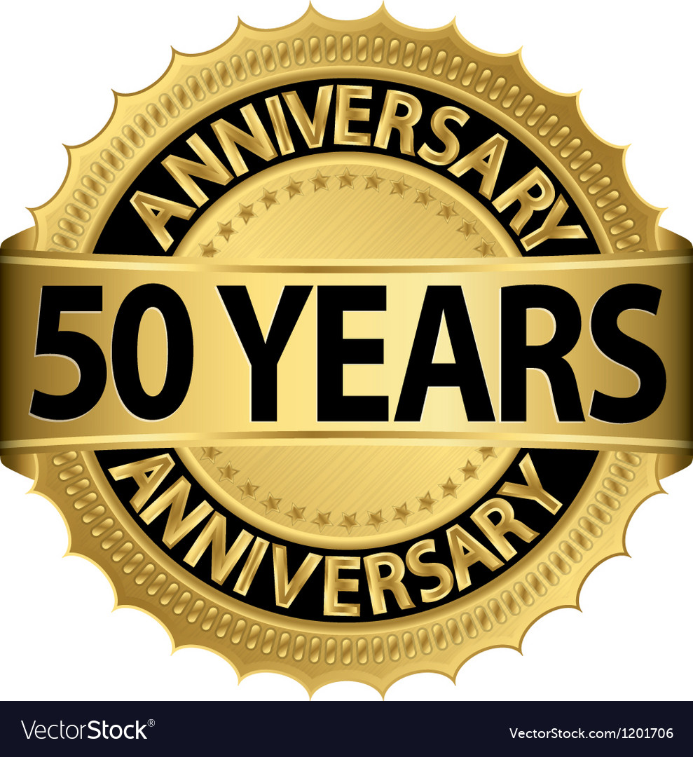 50 years anniversary golden label with ribbon vector | Price: 1 Credit (USD $1)