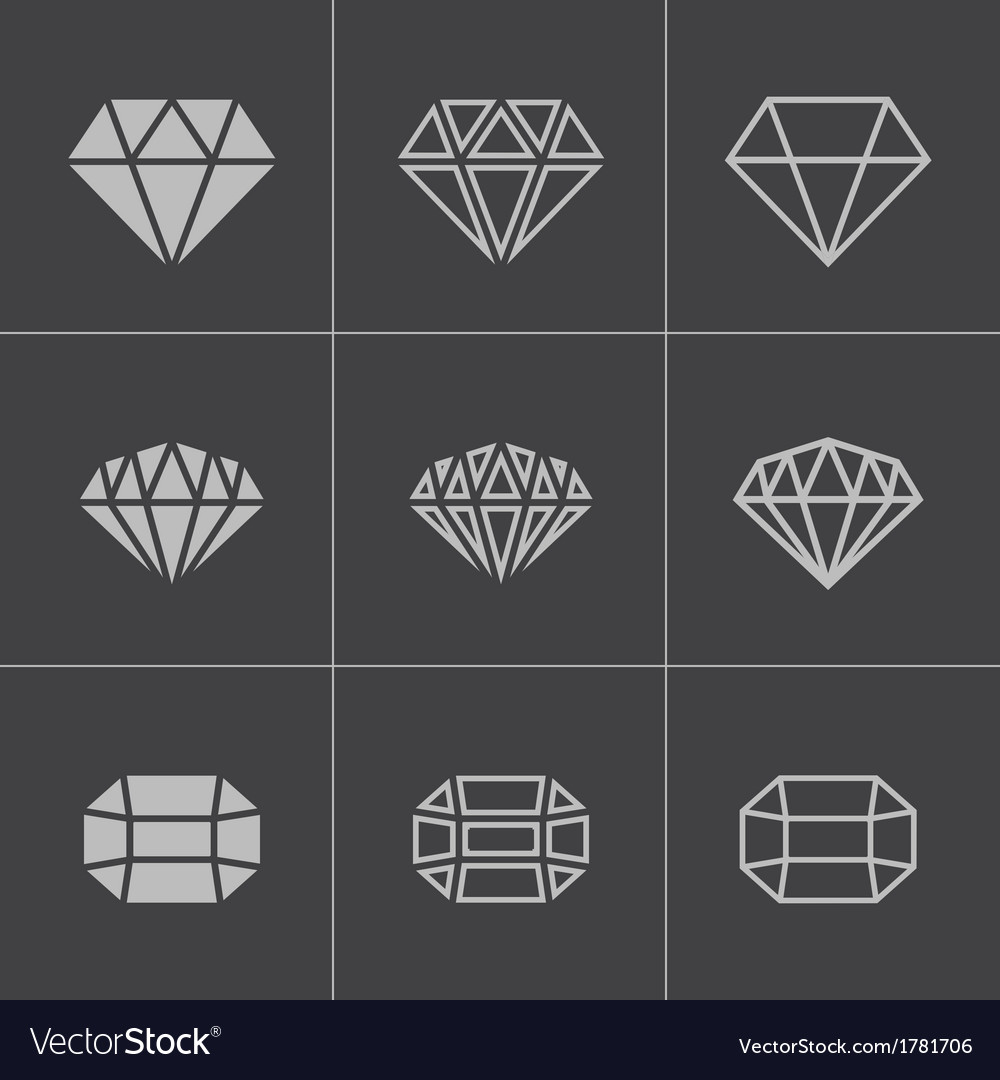 Black diamond icons set vector | Price: 1 Credit (USD $1)