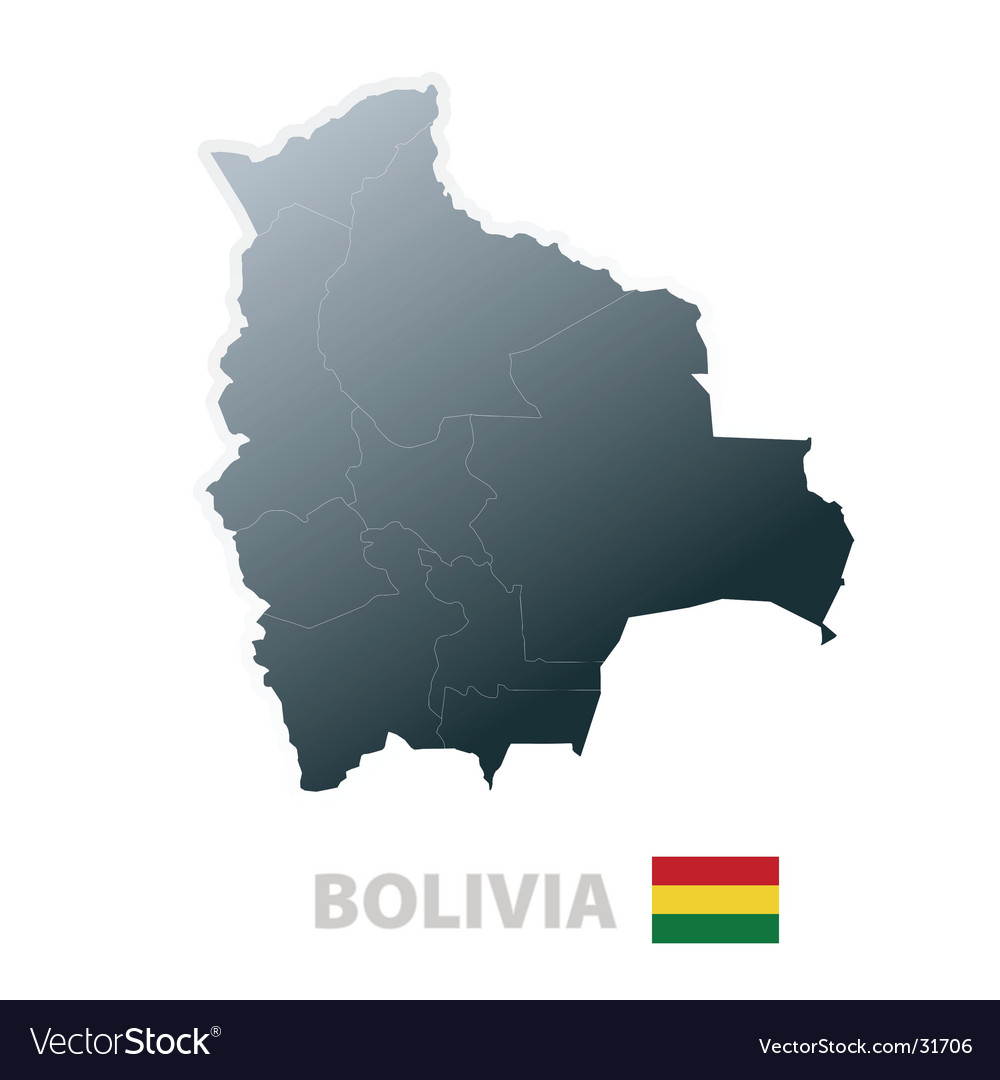 Bolivia map with official flag vector | Price: 1 Credit (USD $1)