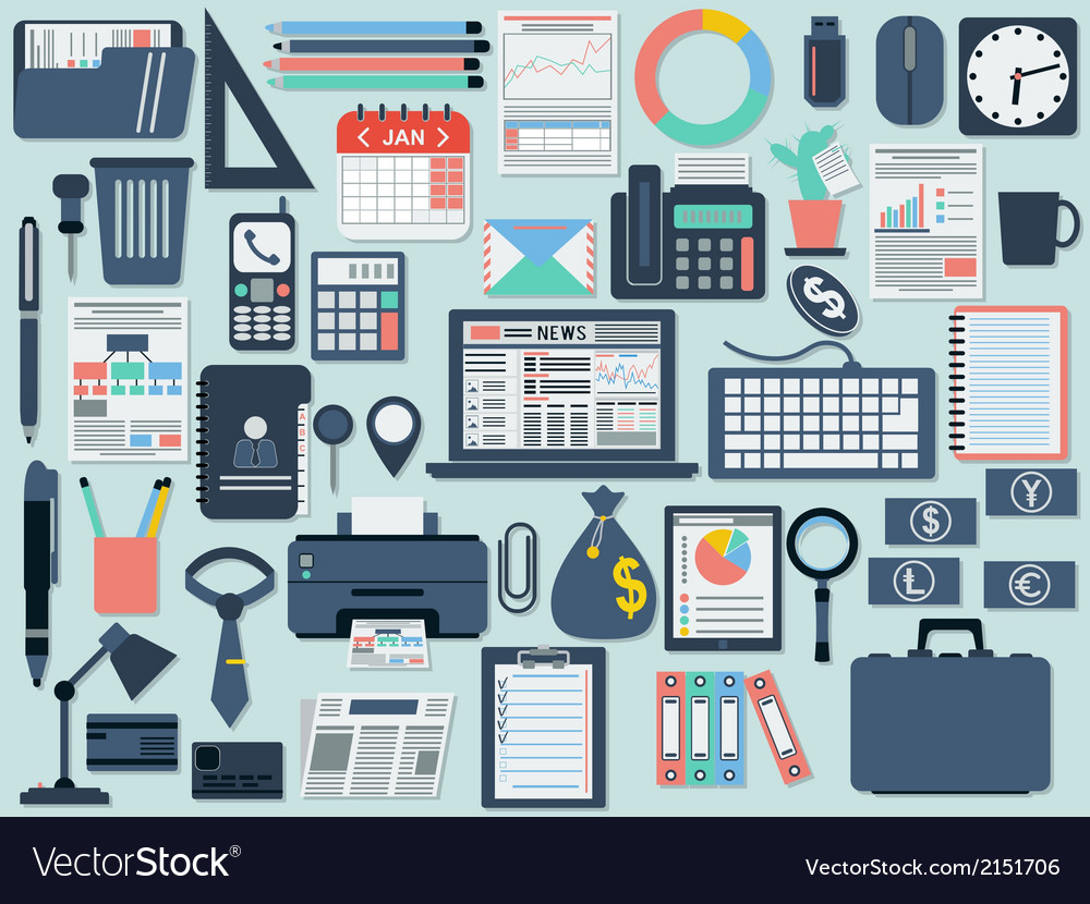 Business and office flat icons vector | Price: 1 Credit (USD $1)
