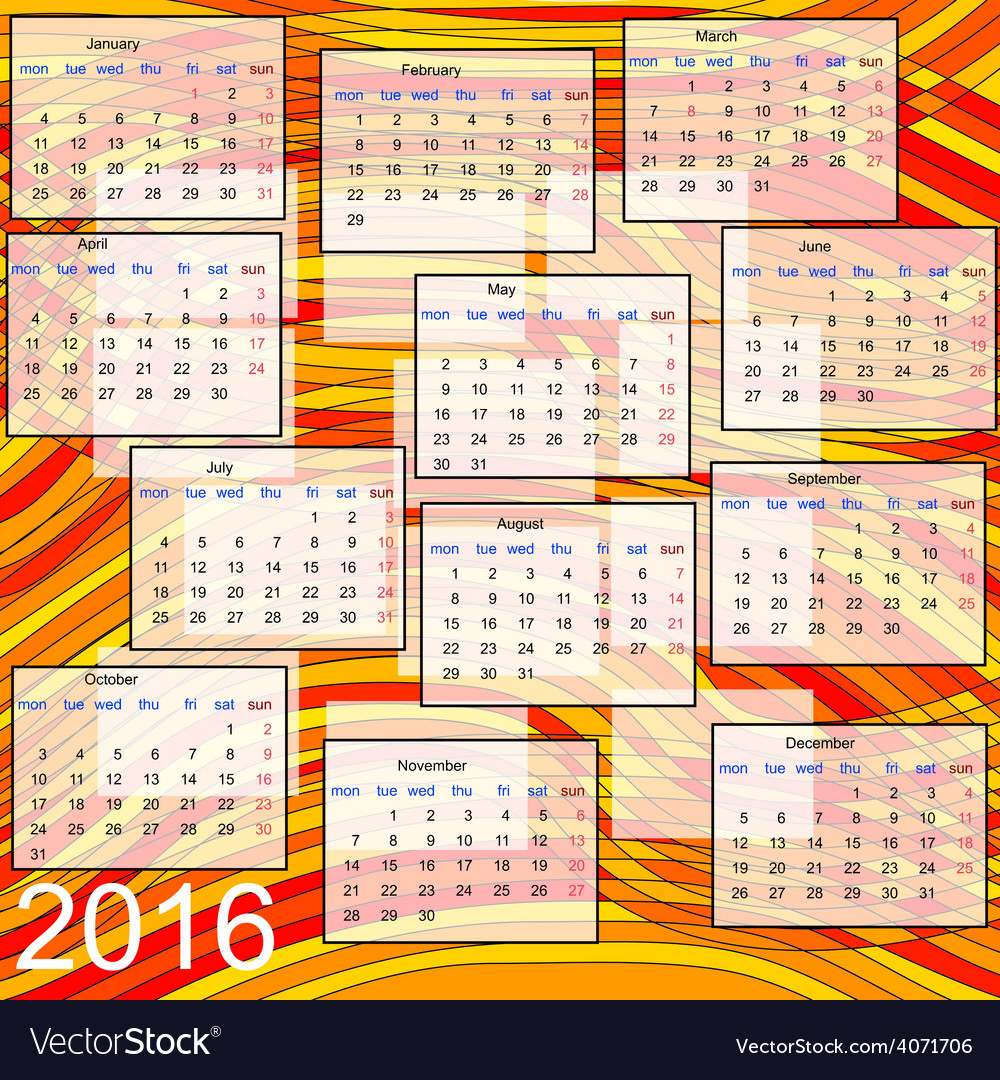 Calendar 2016 vector | Price: 1 Credit (USD $1)