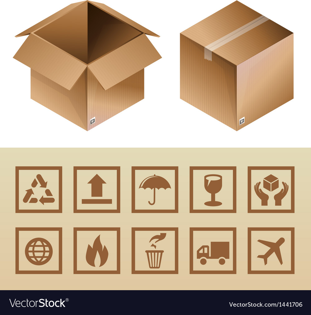 Cardboard delivery box and package icons vector | Price: 1 Credit (USD $1)
