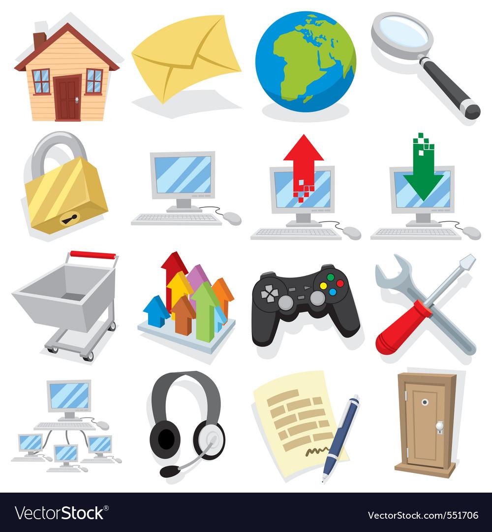 Cartoon internet icons vector   Price: 1 Credit (USD $1)