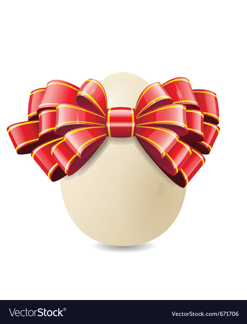 Chicken egg and red bow vector | Price: 1 Credit (USD $1)