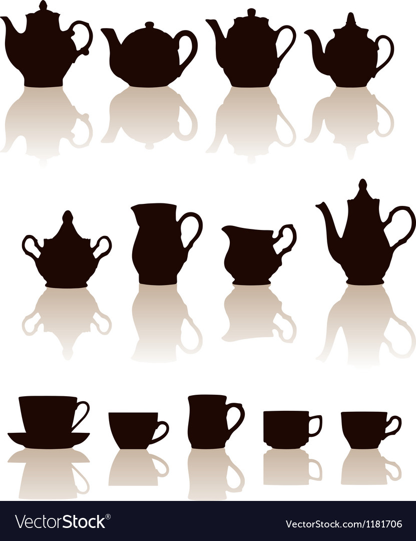 Crockery objects silhouettes set with reflection vector | Price: 1 Credit (USD $1)