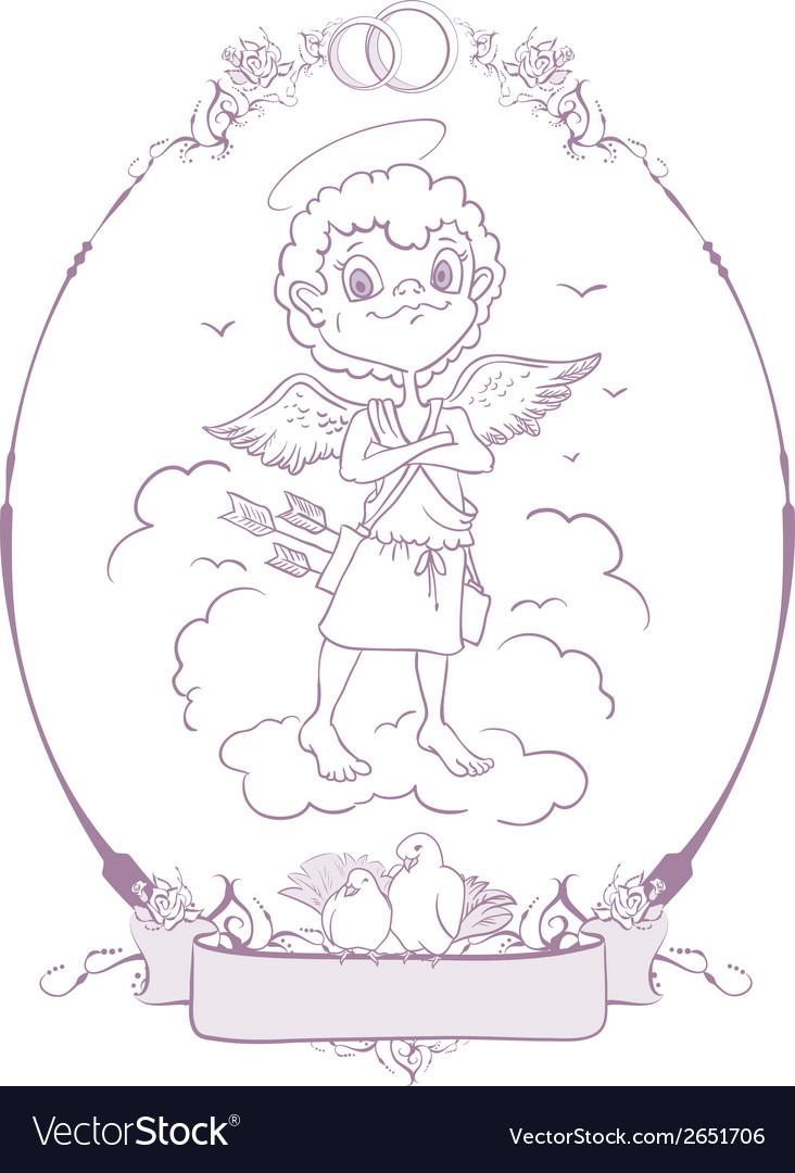 Cupid wedding in frame vector | Price: 1 Credit (USD $1)