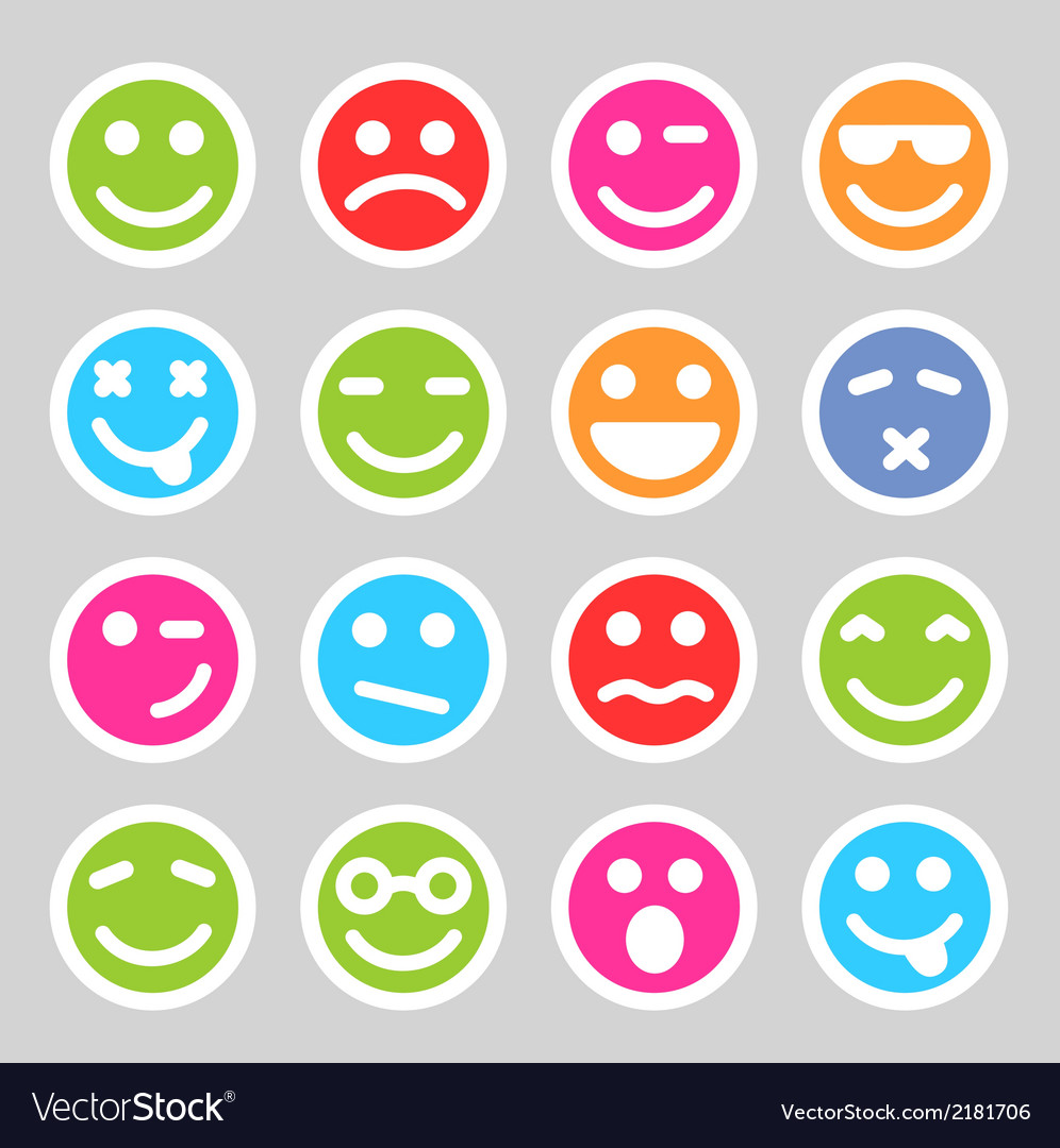 Flat smiley icons vector | Price: 1 Credit (USD $1)