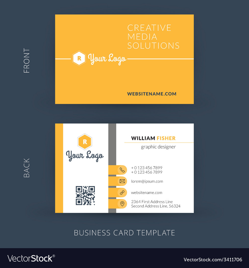 Modern creative business card template flat design vector | Price: 1 Credit (USD $1)
