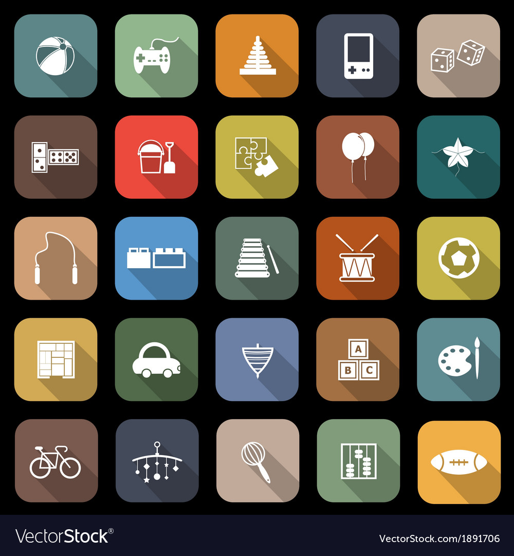 Toy flat icons with long shadow vector | Price: 1 Credit (USD $1)