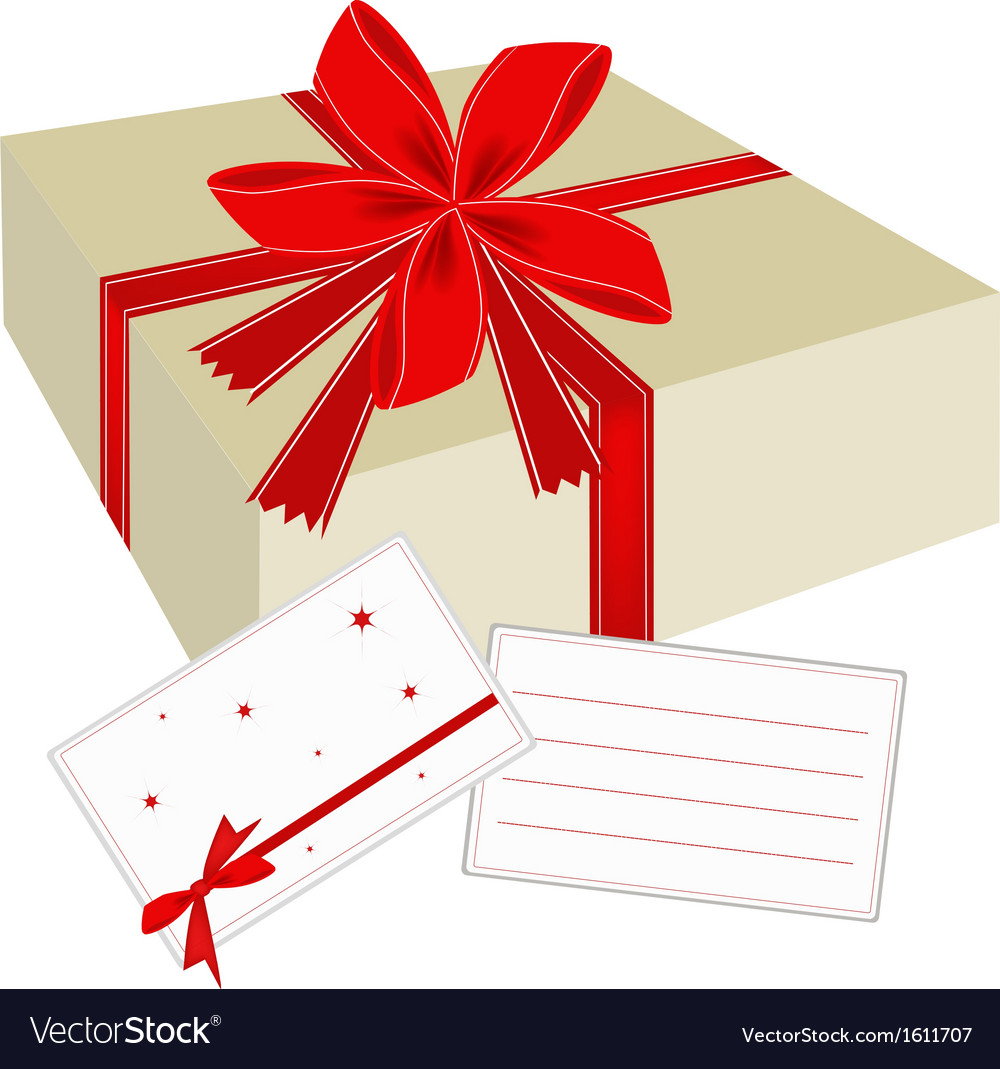 A gift box with red ribbon and blank card vector | Price: 1 Credit (USD $1)