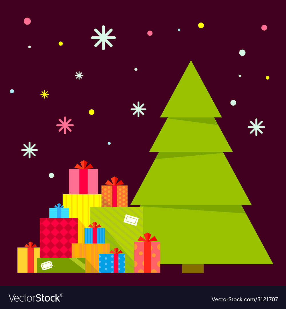 Christmas tree and piles of presents vector | Price: 1 Credit (USD $1)