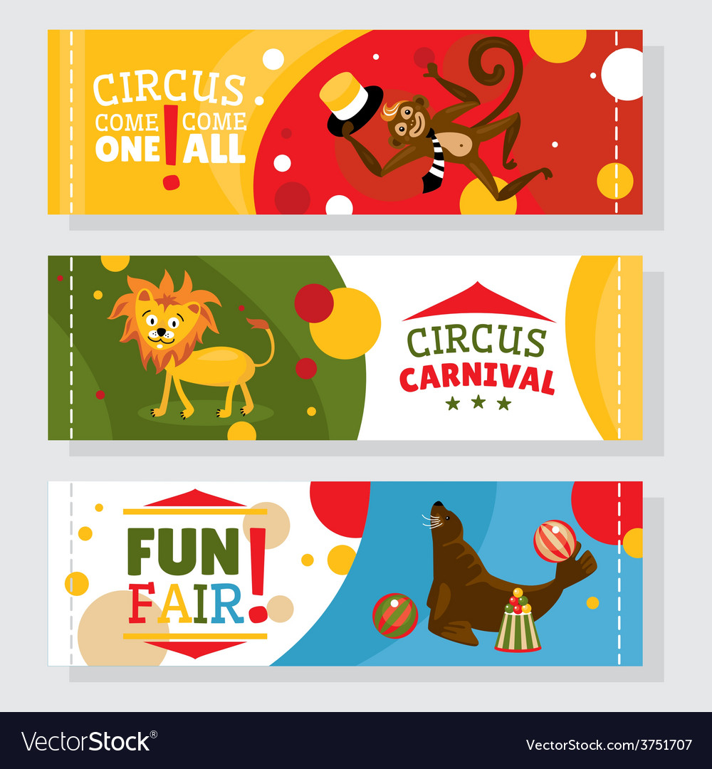 Circus banners with animals vector | Price: 1 Credit (USD $1)