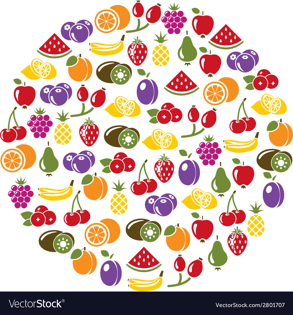 Fruit icons in circle vector | Price: 1 Credit (USD $1)