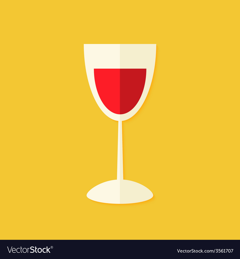 Glass of wine christmas flat icon vector | Price: 1 Credit (USD $1)