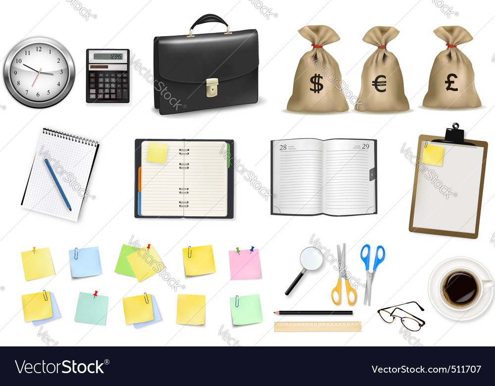 Office items vector | Price: 3 Credit (USD $3)