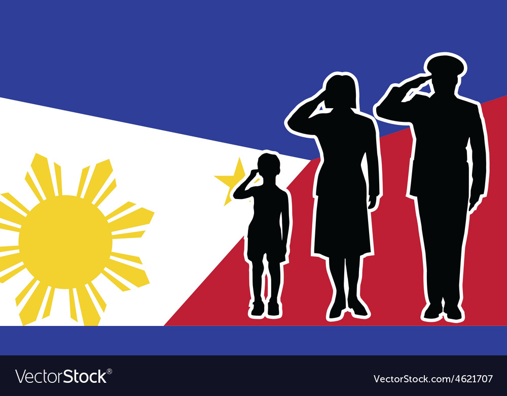 Philippines soldier family salute vector | Price: 1 Credit (USD $1)