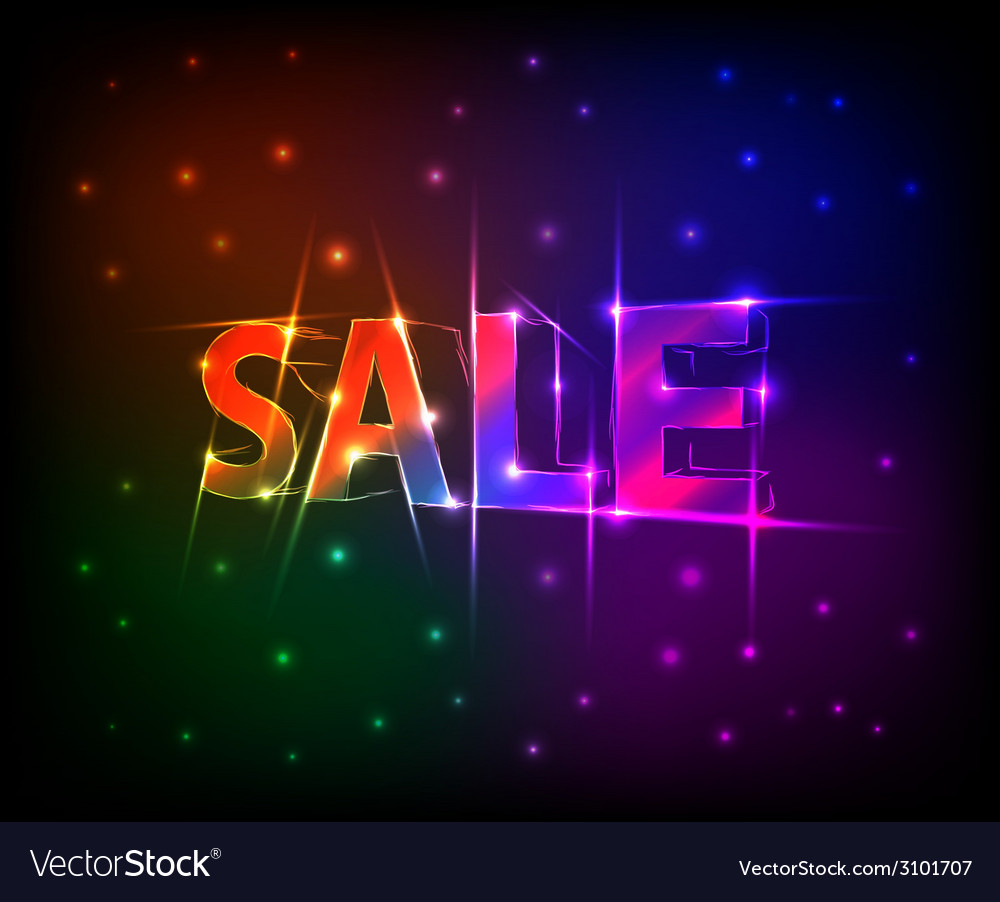 Sale text made of neon lights effect vector | Price: 1 Credit (USD $1)