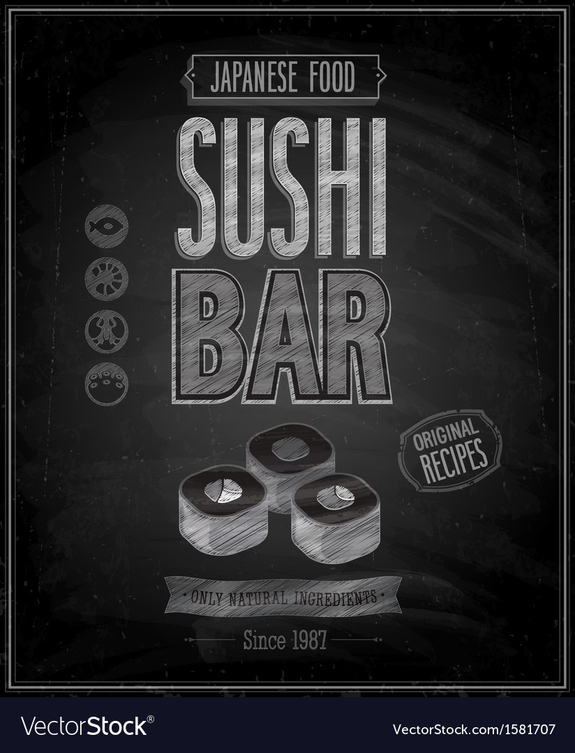 Sushi bar chalk vector | Price: 1 Credit (USD $1)