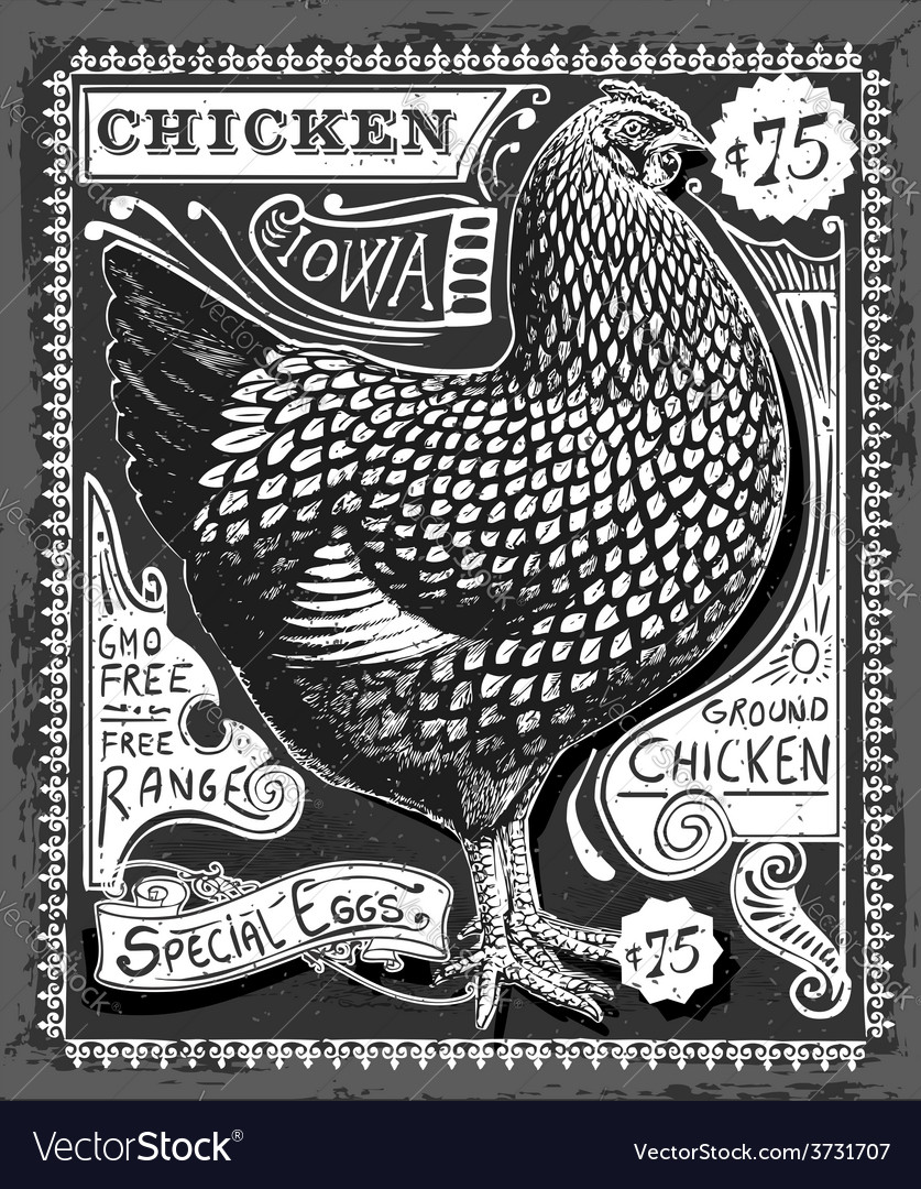 Vintage poultry and eggs advertising on blackboard vector | Price: 3 Credit (USD $3)