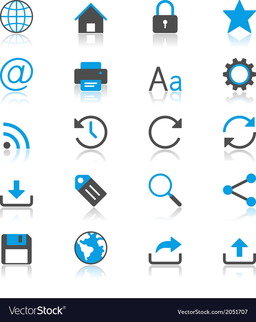 Web flat with reflection icons vector | Price: 1 Credit (USD $1)