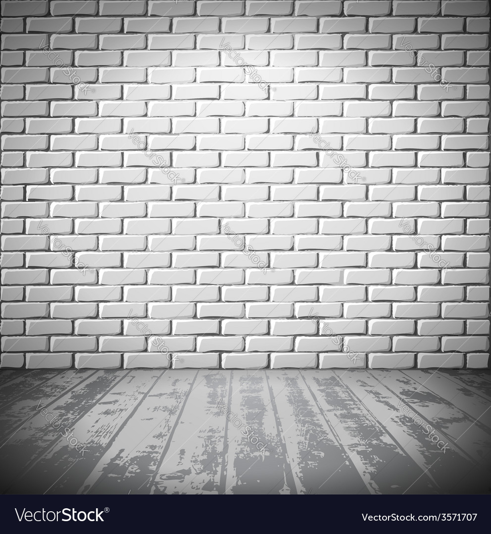 White brick room with wooden floor vector | Price: 1 Credit (USD $1)