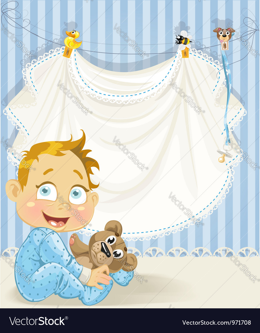 Baby boy blue openwork announcement card with baby vector | Price: 3 Credit (USD $3)