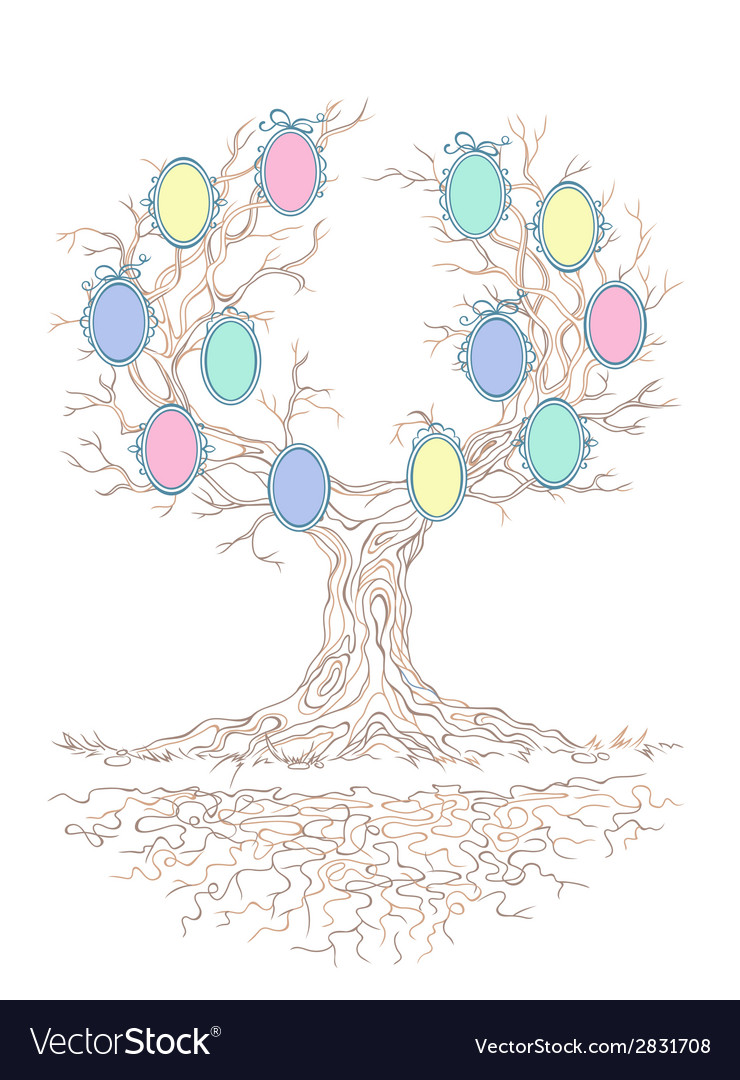 Candy colors genealogical branchy tree vector | Price: 1 Credit (USD $1)