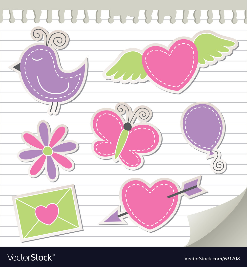 Cute pink stickers set vector | Price: 1 Credit (USD $1)