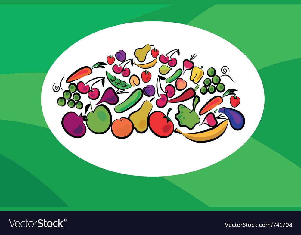 Fruits and vegetables on card vector | Price: 1 Credit (USD $1)