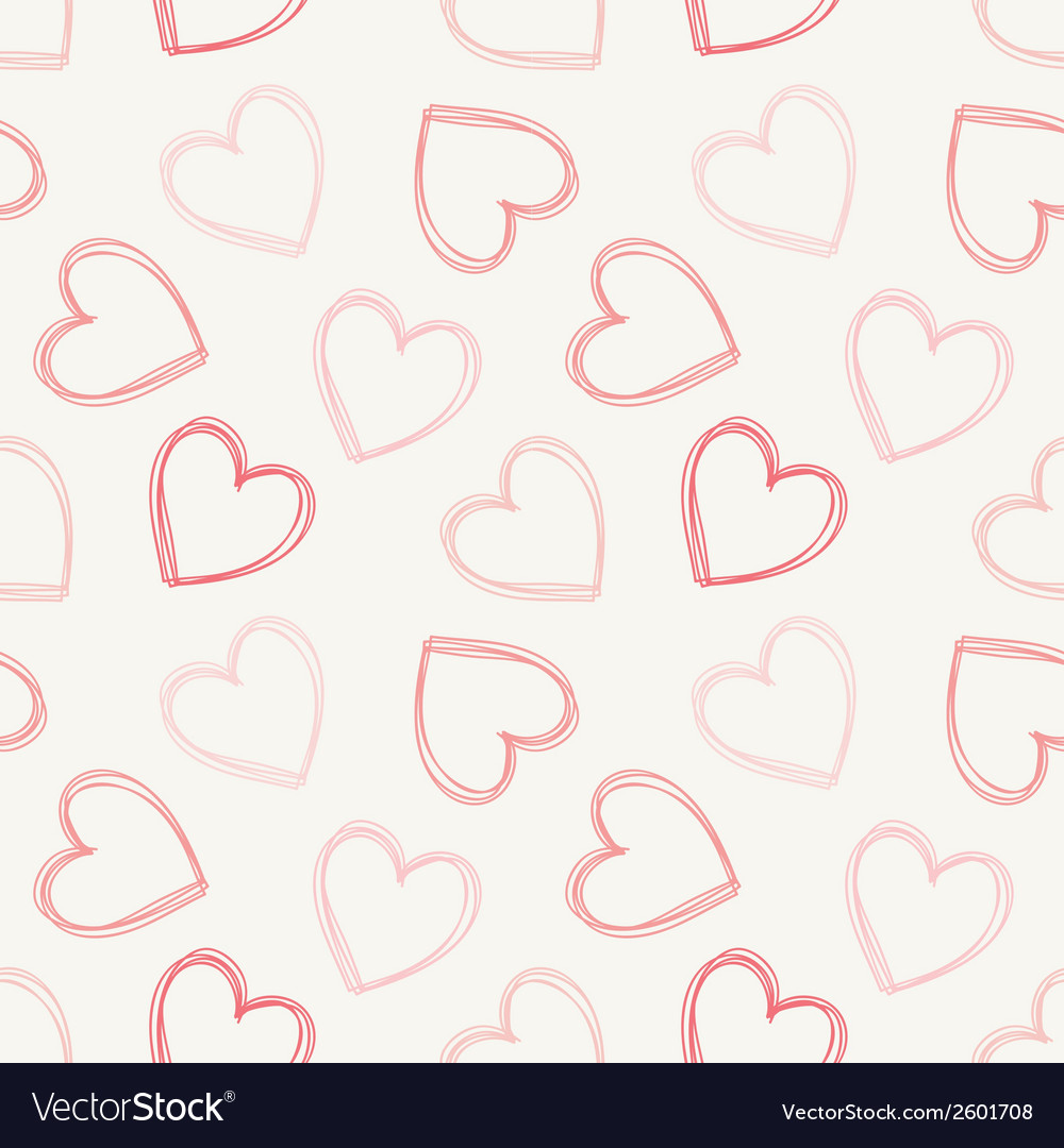 Hand drawn doodle seamless pattern of hearts vector   Price: 1 Credit (USD $1)