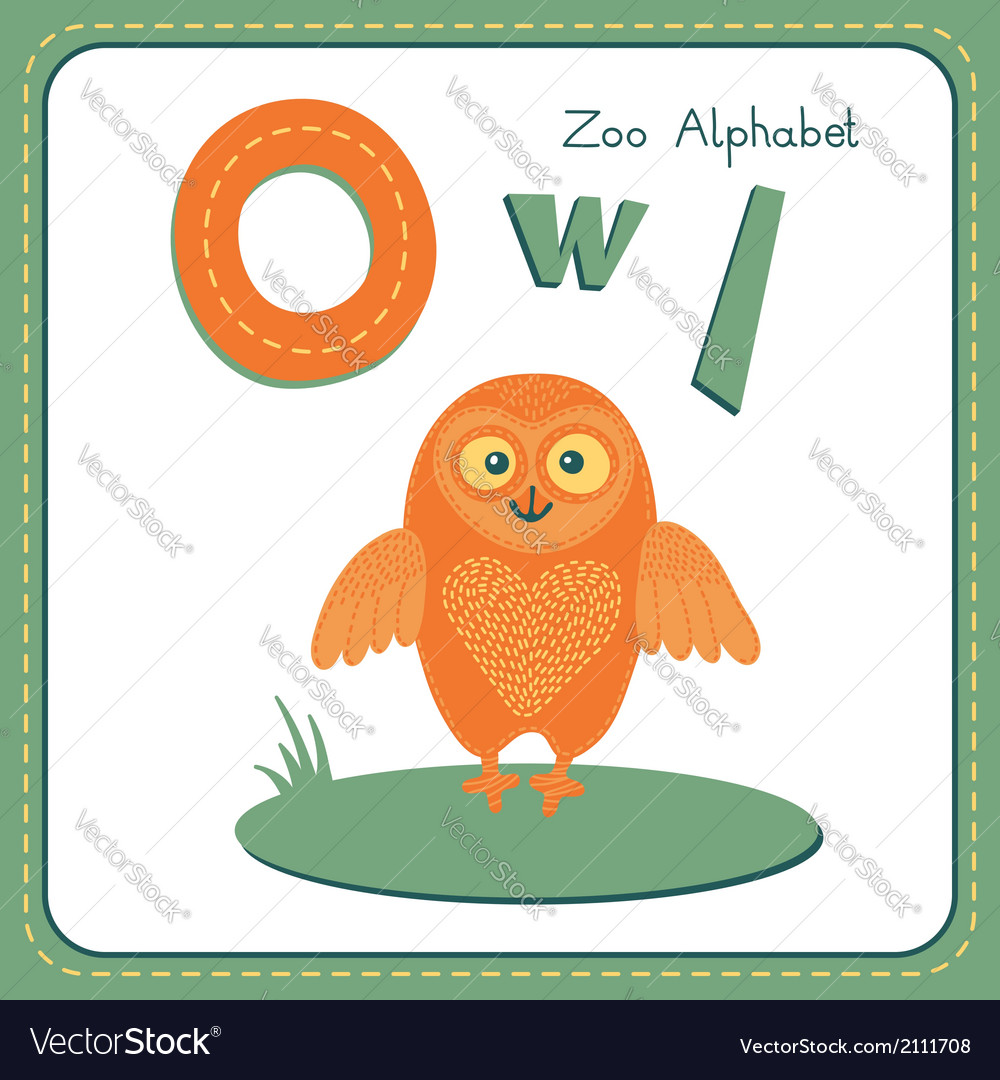 Letter o - owl vector | Price: 1 Credit (USD $1)